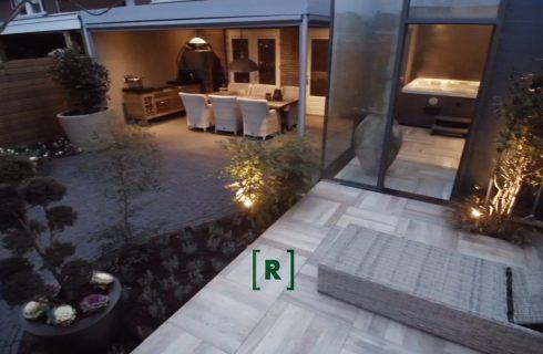 Groenr_Tuinontwerp_tuinarchitect_den Bosch_Exclusieve wellnesstuin_jacuzzi_bonsai_siergrassen_groene_modern_keramische tegels_tuinverlichting